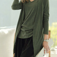 Army Green Long Sleeve Open Front Jersey Cardigan And Tank