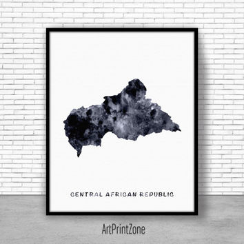 Central Africa Republic Print, Watercolor Map, Office Wall Decor, Office Wall Art, Living Room Art, Map Decor, Map Wall Art Print Zone