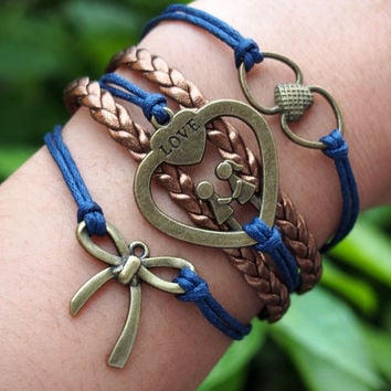Butterfly Knot, Lovers Boy and Girl & Heart to Heart Bracelet Charm Bronze-Wax Cords Leather Braided Bracelet-Friendship Jewelry