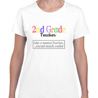 2nd Grade Teacher T Shirt - White - Ladies Style and Unisex Style T Shirts in Small - XXL - 2nd Grade Teacher Tshirt - Second Grade Teacher