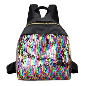 Women Sequins Backpack BlingBling School Bags for Teenage Girls Student Small