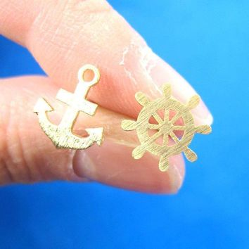 Anchor and Wheel Nautical Themed Stud Earrings in Gold | DOTOLY