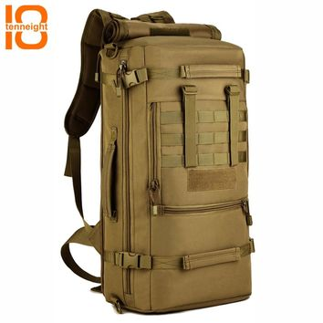 TENNEIGHT 50L Military Tactical Backpack Nylon outdoor Camping Bags Men's sports climbing hunting Backpack Travel Backpack