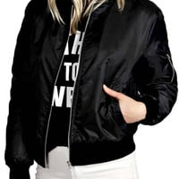Black Bomber Jacket with Zipper Details
