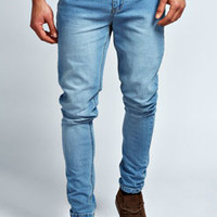 Stone Washed Stretch Skinny Fit Jeans