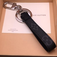 KUYOU LOUIS VUITTON M61950 black presbyard key chain imported first layer calf leather LV