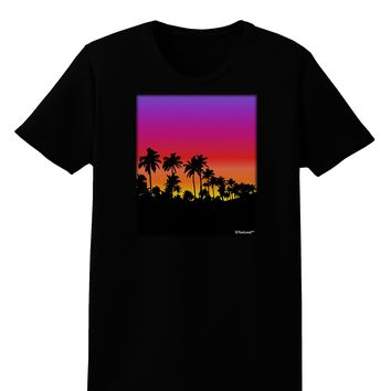 Palm Trees and Sunset Design Womens Dark T-Shirt by TooLoud