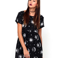 Motel Tiara Babydoll Dress in Sun Moon Stars Print
