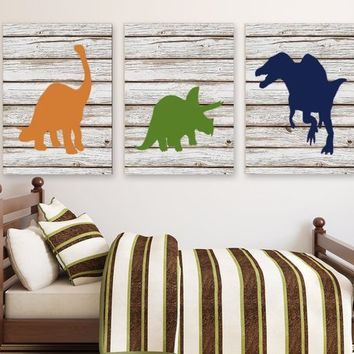DINOSAUR Wall Art, Dinosaur Wall Decor, Dinosaur Decor, Wood Design Canvas or Prints Art, Dinosaur Nursery Artwork, Big Boy Room, Set of 3