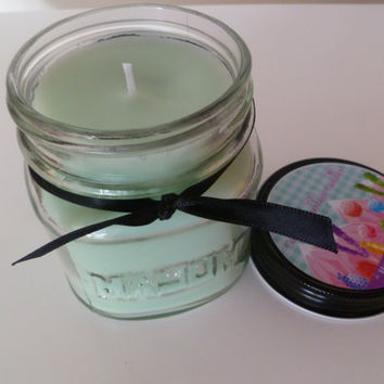 Mermaid Kisses Soy Blend 8 oz. Mason Jar Candle Highly Scented Blue Candle