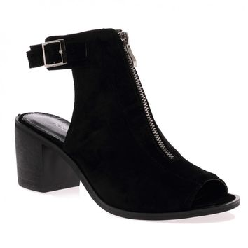 Francis Black Peeptoe Cut Out Boots