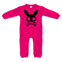 Bunny Crossbones Hot Pink & Black Long Sleeve Romper