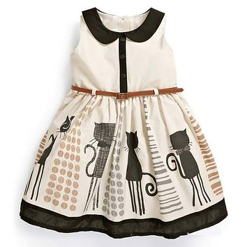 Summer Baby Girls Dresses Cotton Cartoon Cat Printed Vestido Peter Pan Collar Sleeveless Cute Princess Party Dress Girl Vestidos