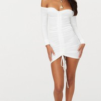 White Ribbed Long Sleeve Ruched Bodycon Dress