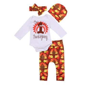 Pudcoco Toddler Kids Girls Clothes Autumn Fall Outfit Newborn Infant Baby Children Clothing Set My 1st Thanksgiving