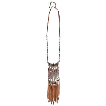 Statement chain necklace with leather fringe