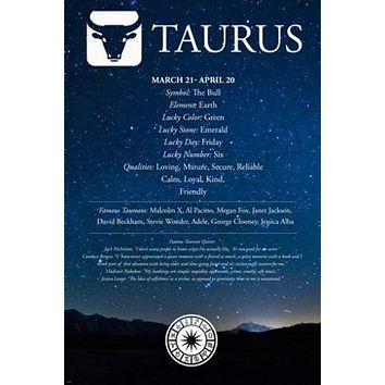Taurus Description ASTROLOGY POSTER 24X36 FAMOUS PEOPLE quotes qualities HOT