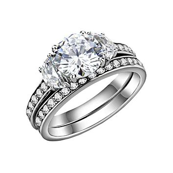 Clarisse - Women's Stainless Steel Trio CZ Stone Ring Set