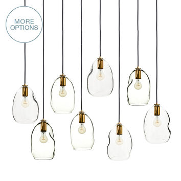 Hand Blown Glass Bubble Stagger 2-11 Pendant Light Chandelier