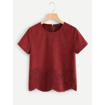 Burgundy Round Neck Short Sleeve Shirt