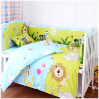 Promotion! 7pcs Lion crib bedding set 100% cotton baby bedding curtain crib newborn bed sheet (bumper+duvet+matress+pillow)