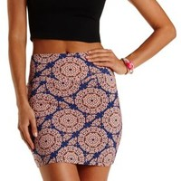 Blue Combo Tile Print Bodycon Mini Skirt by Charlotte Russe