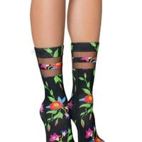 Black Ivy Mesh Socks in Colorful Flowers