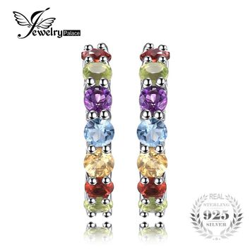 JewelryPalace 0.7ct Multicolor Natural Amethyst Citrine Garnet Peridot Blue Topaz Earrings Stud 925 Sterling Silver Jewelry