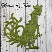 Rooster wall hanging // Kitchen decor // Rooster decor // Avocado  decor // Green Kitchen Decor // Vintage Rooster