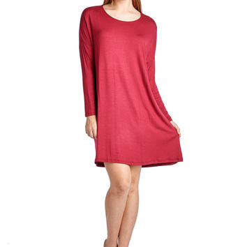 82 Days Women'S Rayon Span Basic Round Neck Long Sleeves Dress - Solid