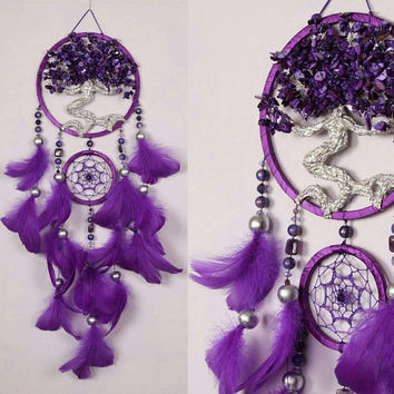 Christmas gift Violet Dream Catcher Tree of life Dreamcatcher amethyst nacre Dreamсatcher violet pearl wall handmade gift amethyst gift boho