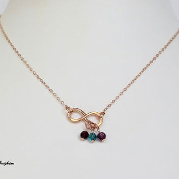 14K Rose Gold Filled Birthstone Infinity Pendant Necklace Bridesmaid Best Friend Sister Mother Girlfriend Wife Maid of Honor Gift Idea