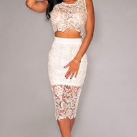 White Crochet Lace Sleeveless Cut Out Bodycon Midi Dress