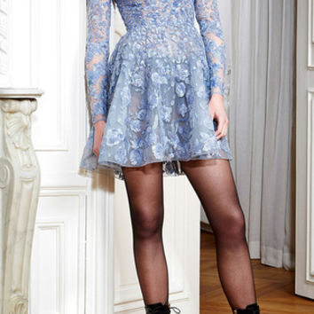 Sequin Embroidered Flared Mini Dress