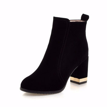 Serafina Suede Ankle Boots with Metalic Detail