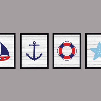 Nautical Set of 4 CUSTOMIZE YOUR COLORS custom wall art wall decor nursery decor nursery print kids art baby nursery decor kids print 8x10