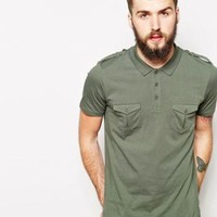 ASOS Polo Shirt With Pockets and Epaulettes