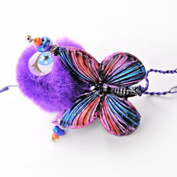 Ear Cuff - Monster, Critter, Creature, Purple, Butterfly , Pompom, Wire Wrap - OOAK Jewelry