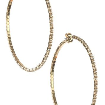 Clear Pave Crystal Stone Coil Wire Metal Hoop Earring