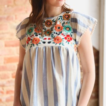 Stripe Embroidered Babydoll Top -Blue
