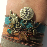 Bohemian Silk Wrap Bracelet Yoga Jewelry Dragonfly Tree of Life Good Luck Autumn Fall Orange Black Unique Gift Under 50 Item Z33