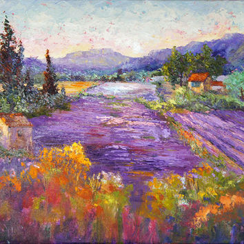 Impressionist Provence Landscape painting, Wonderful Lavender Provence - Original oil painting,  Knife painting, Impasto lavender fields