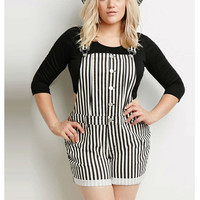 Plus Size Striped Print Back Cross Buttoned Jumper Suit