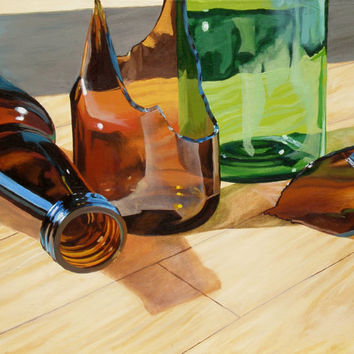 Original Oil Painting Print, Broken Bottles, 9x11 Still Life Fine Art