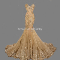 Fashion Sweetheart Elegant Beaded Appliques Mermaid Gold Long Prom Dresses 2016 Long Evening Party Gowns Custom Made