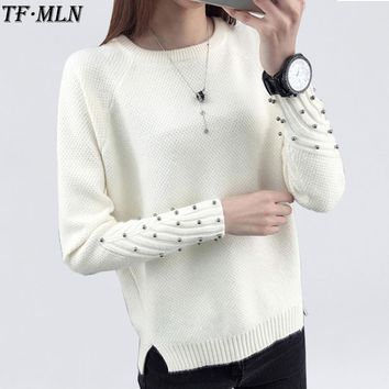 2018 Women Winter Cashmere Beading O-Neck Sweater Knitted Shirt Tops Long Sleeves Loose Fashion Sweater Pullover All-match Coats