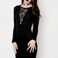 Black V-Shape Lace Dress