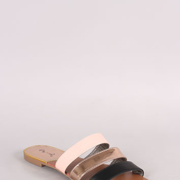 Qupid Three Mix Color Band Slide Sandal