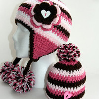 New sibling gift set Newborn hat & girls hat toddler earflap poms Big sister little sis Custom colors and sizes