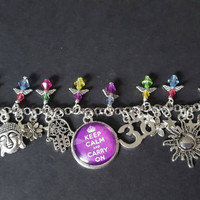 Healing keep calm and carry on inspired charm bracelet